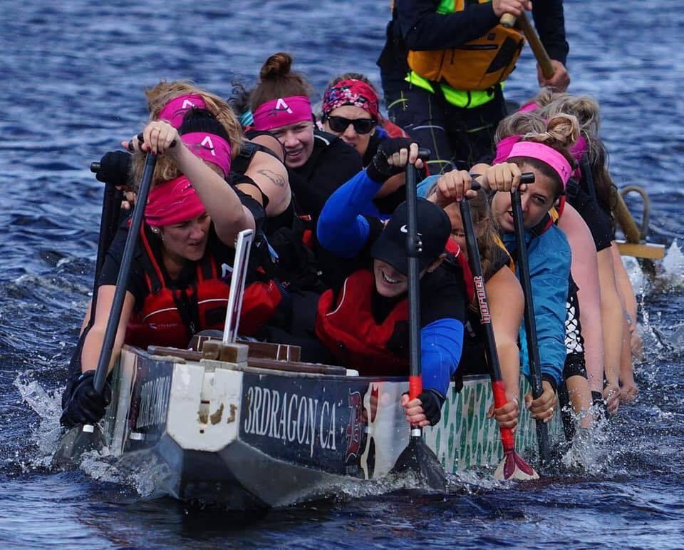 Image de l'équipe Les Amazones de Québec en action lors d'une compétition vu de devant